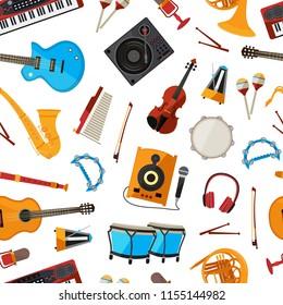 Vector cartoon musical instruments pattern or background illustration. Music cartoon pattern, musical instrument