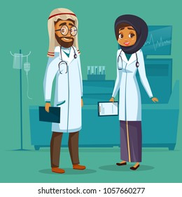 Vector cartoon muslim arab khaliji male female doctor nurse. Surgeon man physician specialist woman uniform hijab stethoscope. Illustration healthcare professional people clinic hospital background