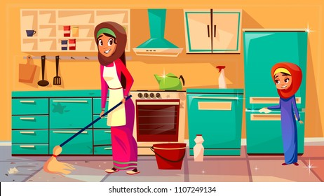 Vector cartoon muslim khaliji mother, daughter in hijab cleaning kitchen together, doing household chores. Female arab women characters wiping floor, dust interior furniture, fridge, cooking stove