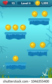 Vector cartoon nautical lanscape with anchor, coins and coral for platform game of underwater world theme
