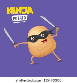 vector cartoon ninja potato character with black super hero mask and ninja katana sword isolated on violet background. super ninja kawaii vegetable food character