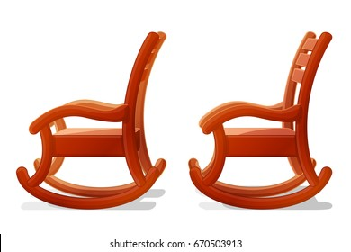 vector cartoon object illustration. Vintage rocking chair. Clip art isolated on transparent background. Hand drown design element. Baby graphics concept.