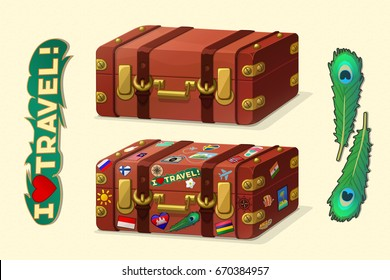 vector cartoon objects illustration. 3d old leather suitcase. Hand drown design elements. Baby computer graphics clip art. Adventure time. Rose of Wind sticker. Lifestyle poster.