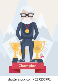 Vector cartoon old man champion in sport wearing a first place gold medal standing on a winners podium with certificates and golden award trophies against a backdrop of snow-capped mountain peaks