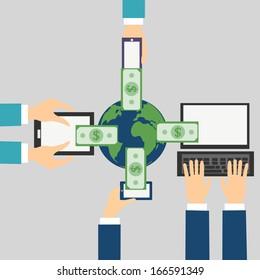 Vector Cartoon of Online banking concept: Send money via smart phone, computer, tablet, phone