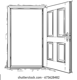 Vector cartoon of open elegant wooden door