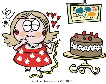 Vector cartoon of overweight woman looking at chocolate cake