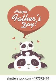 vector cartoon panda father's day greeting card