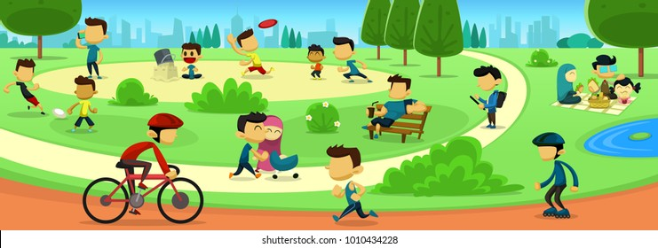 vector cartoon park family activity with people abstract faceless figure in sport and recreation with city scape silhouette background