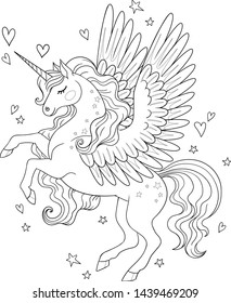 Vector cartoon pegasus with stars and hearts around. Isolated outline for coloring book