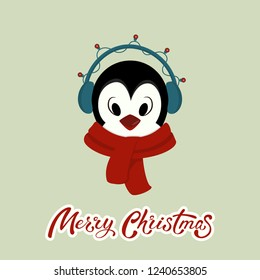 Vector cartoon penguin with red scarf and headphones. Funny character for christmas and new year children's prints, greetings, posters, t-shirt, packaging. Merry Christmas hand lettering. Cute animal.