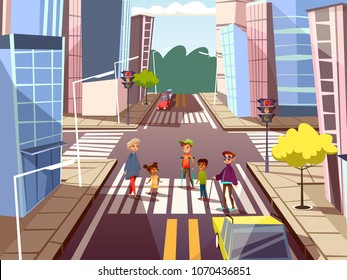 Vector cartoon people on pedestrian crossing road on city downtown urban cityscape background. Illustration with african black caucasian male female characters, blind disabled man, boy on crutches.