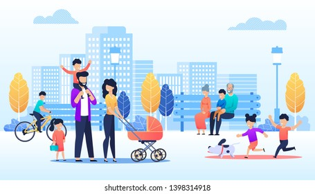 Vector Cartoon People Walking in Urban Park Illustration. Happy Children run with Dog, Family Pass with Kids and Baby Pram, Grannies with Grandson Sit on Bench, Boy Cycling. Flat City Skyline Backdrop
