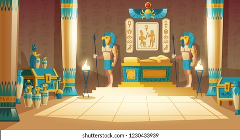 Vector cartoon pharaoh tomb with golden sarcophagus, statues of gods with animal heads, columns, symbols and hieroglyphics on wall. Egyptian ancient culture, mythology and religion, concept background