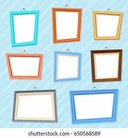 Vector cartoon photo picture creative wall frames.