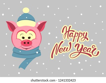Vector cartoon pig with blue scarf and hat. Funny character for christmas and new year children's prints, greetings, posters, t-shirt, packaging. Happy New Year hand lettering. Cute animal.