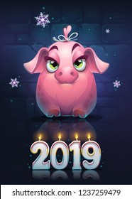 Vector cartoon pig girl on a brick wall background with snowflake. Bright image to create original video or web games, graphic design, screen savers.