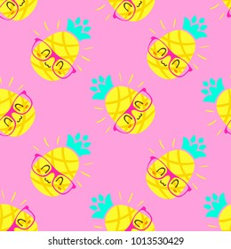 vector cartoon pineapple in glasses punchy pastel pink seamless pattern