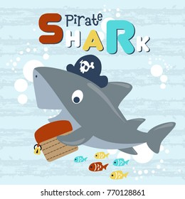 vector cartoon of pirate shark with treasure chest, colorful fishes on cracked striped background