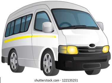 Vector cartoon of a plain white minibus taxi. EPS 10 file.