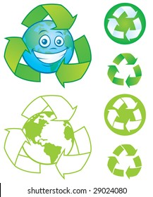 Vector cartoon planet Earth with recycle symbols and icons. Great mascot or logo for going green..