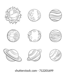 Vector cartoon planets, education space illustration for adult antistress coloring page. Set of isolated stylized planets, hand drawn sketch style. Sun, mars and venus, earth, saturn with rings.