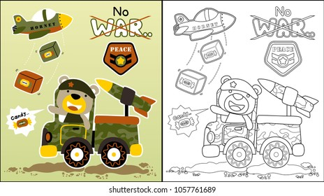 vector cartoon of Playing war with cute animal, coloring book or page