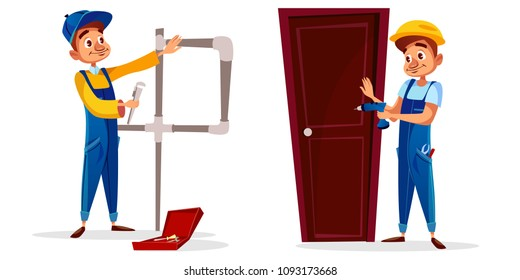 Vector cartoon plumber and technician worker characters set. Male professional service man in uniform installing door holding screwdriver, repairing plumbing, water or gas pipe with spanner gas wrench
