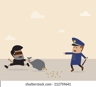 Vector cartoon of Policeman is chasing thief