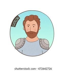 Vector cartoon portrait of Gideon. Bible illustration for kids.