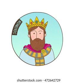 Vector cartoon portrait of kind Solomon. Bible illustration for kids.