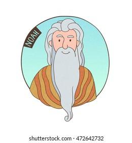 Vector cartoon portrait of old Noah. Bible illustration for kids.