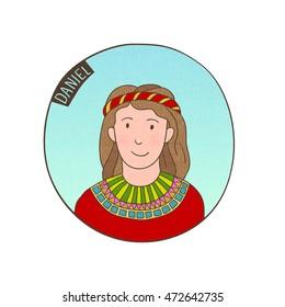 Vector cartoon portrait of young Daniel. Bible illustration for kids.