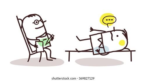 vector cartoon psychoanalyst with patient