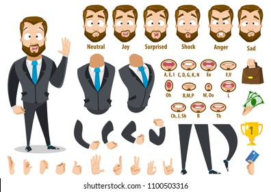 Vector cartoon puppet of strong bearded business man character constructor for animation and custom illustrations. Character creation set with various views, face emotions, lip sync and poses