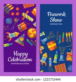 Vector cartoon pyrotechnics vertical flyer templates for party, firework show or pyrotehcnics company. Illustration of firework show with rocket, card template and banner