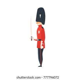 vector cartoon queen guard. Man in traditional english, british UK england red uniform, soldier holding weapon. Isolated illustration on a white background.