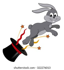 Vector cartoon - Rabbit jumping out of hat