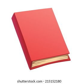 Vector cartoon red book with hardcover isolated on white
