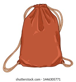 Vector Cartoon Red Drawstring Bag. Textile Backpack with Strings