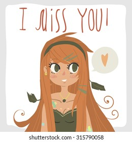 Vector cartoon red head girl. For game presentation, user interface tablet, smart phone. With cute ginger red head girl.
