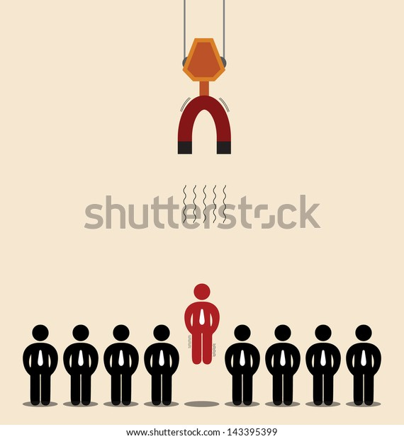 Vector cartoon of Red man among black is magnetized by big magnet