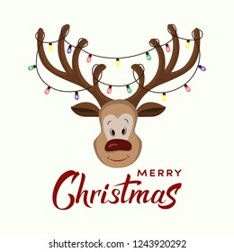 Vector cartoon red nosed reindeer with big horns with electric lights on it. Funny character for christmas and new year cards, banner, poster, t-shirt, packaging,. Merry Christmas hand drawn lettering
