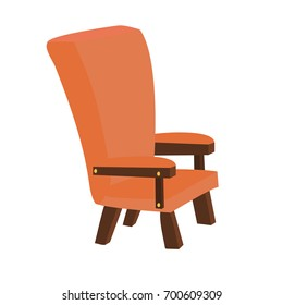 Vector cartoon red wood vintage chair isolated on white background