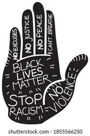 a vector cartoon reprensenting a black human hand gesturing a stop signal - end racism concept - Black Lives Matter