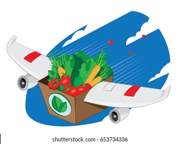 a vector cartoon representing an airplane winged carton package full of fresh vegetables and fruit flying and landing - online order and very fast shipping concept