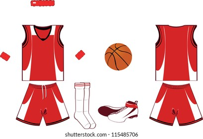A vector cartoon representing basket game accessories and clothing, every object is singly grouped