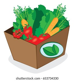 a vector cartoon representing a carton package full of fresh vegetables and fruit - online order and fast shipping concept