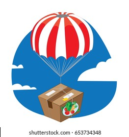 a vector cartoon representing a carton package full of fresh vegetables and fruit landing from the sky with a funny red and white parachute - online order and very fast shipping concept