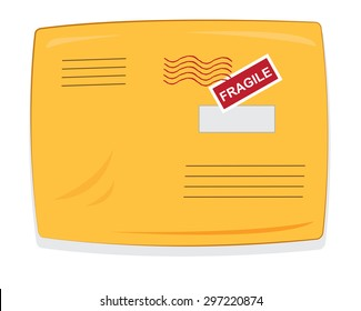 a vector cartoon representing a closed yellow padded envelope, with copy space postmarks and labels
